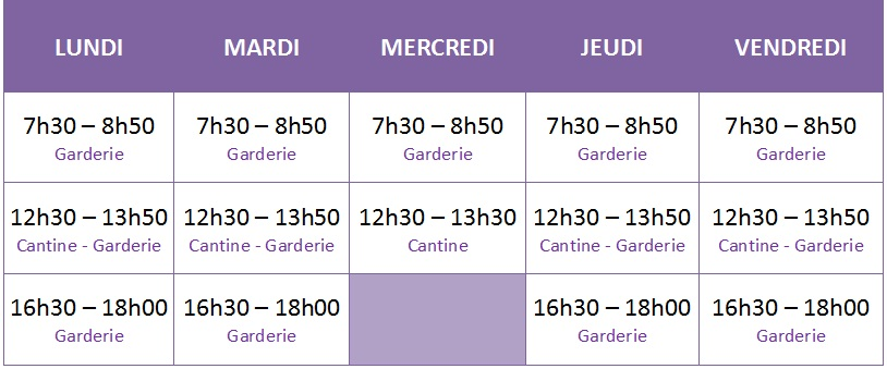 Horaires extrascolaire